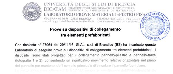 SICURSISMA prove eseguite da Università degli Studi di Brescia